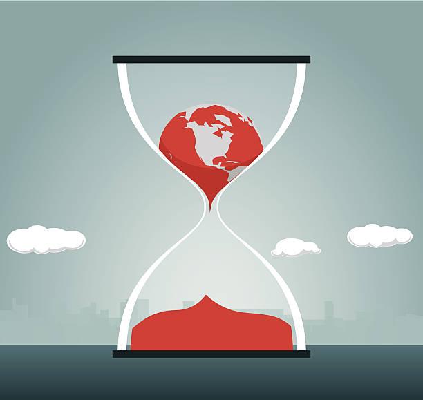 bildbanksillustrationer, clip art samt tecknat material och ikoner med hourglass, change, globe, clock, time, earth, melting - climate change