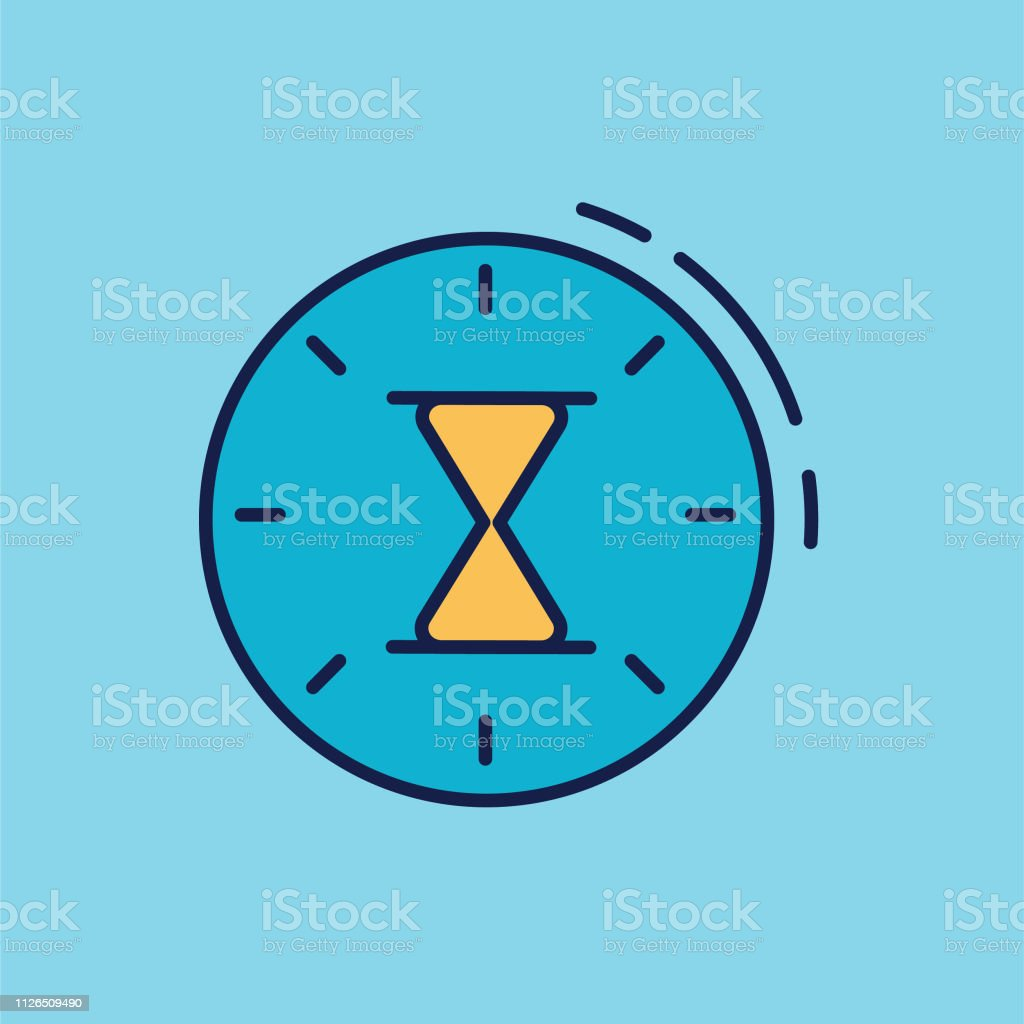 A thin line icon from a set of time themed icons. Hourglass Clock...