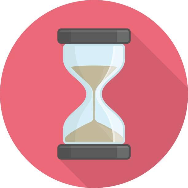 Hourglass icon on red. - ilustração de arte vetorial