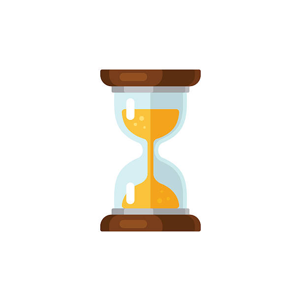 Hourglass icon Hourglass time icon in flat vector style. Isolated on white background. waiting stock illustrations