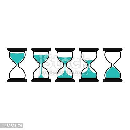 Hourglass icons, isolated on white background. Sand Clocks for Sprite Sheet Animation. Time hourglass in simple flat style. Vector illustration EPS 10.