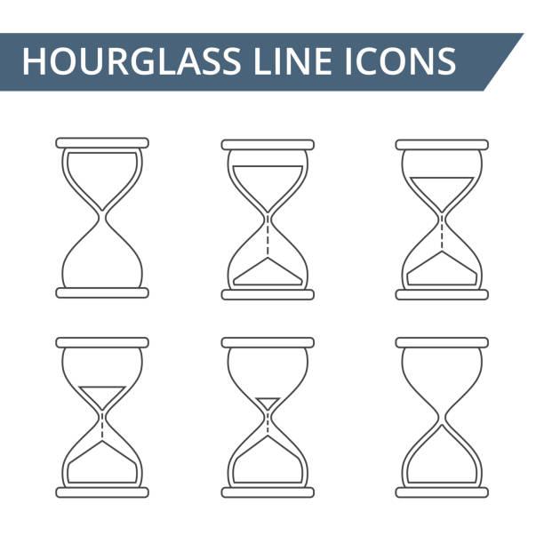 Hourglass Line Icons - ilustração de arte vetorial
