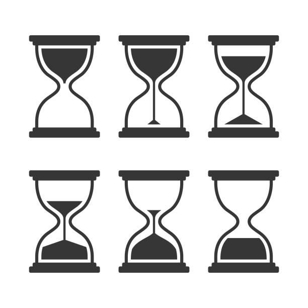 illustrations, cliparts, dessins animés et icônes de sablier moderne vecteur icônes ensemble isolé sur fond blanc - minuteur