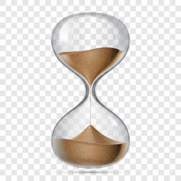 Hourglass or sandglass vector realistic 3D icon isolated on transparent background. Vector hour glass clock with flowing sand - ilustração de arte vetorial