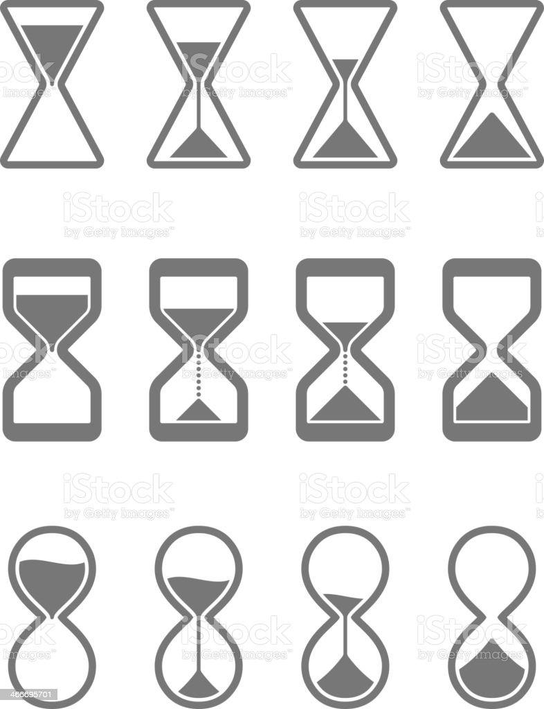 Hourglass, sandglass icons vector art illustration
