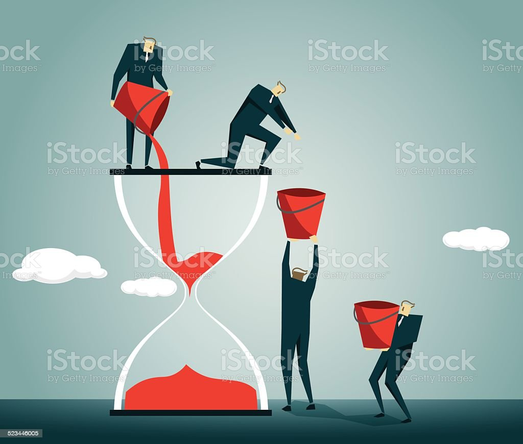 Hourglass, Team,Solution, Pouring, Recharge, Teamwork vector art illustration