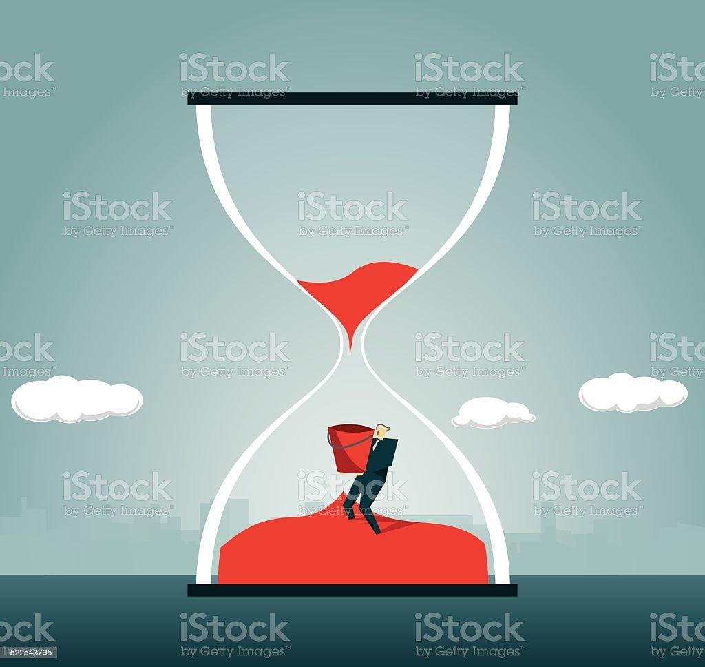 Hourglass, Time, Deadline, Crisis vector art illustration