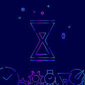 Hourglass Vector Line Icon. Sandglass Gradient Symbol, Pictogram, Sign. Dark Blue Background. Light Abstract Geometric Background. Related Bottom Border