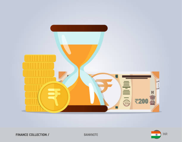 Hourglass with 200 Indian Rupee Banknote and coins. Flat style vector illustration. Time and Business concept. Banknotes banking borders stock illustrations