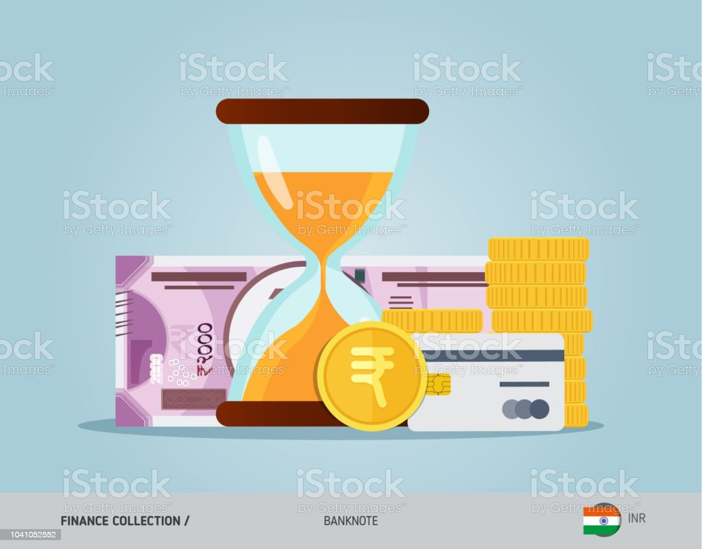 Hourglass with 2000 indian rupee banknote coins and credit card flat hourglass with 2000 indian rupee banknote coins and credit card flat style vector illustration reheart Images