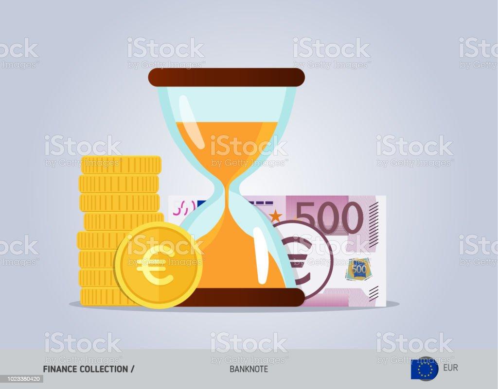 Sanduhr Mit 500 Eurobanknoten Und Münzen Flachen