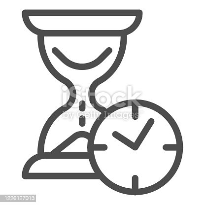Hourglass with clock line icon, time passing concept, urgency and running out of time sign on white background, sandglass or sandclock with watch icon in outline style. Vector graphics