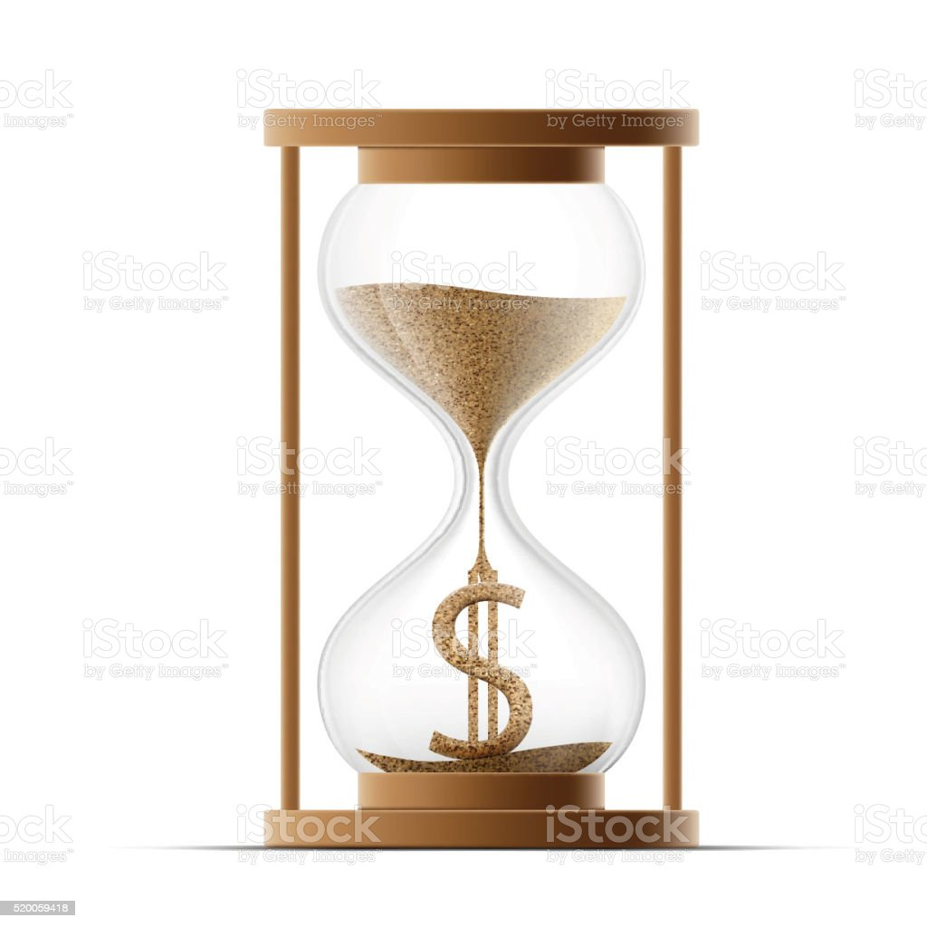Hourglass with dollar sign. Costs money. vector art illustration