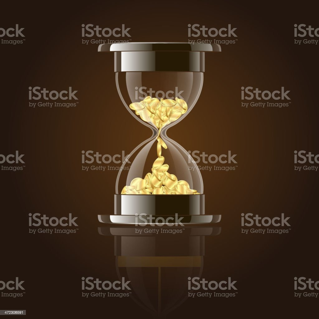 Hourglass with gold coins over dark background. royalty-free stock vector art