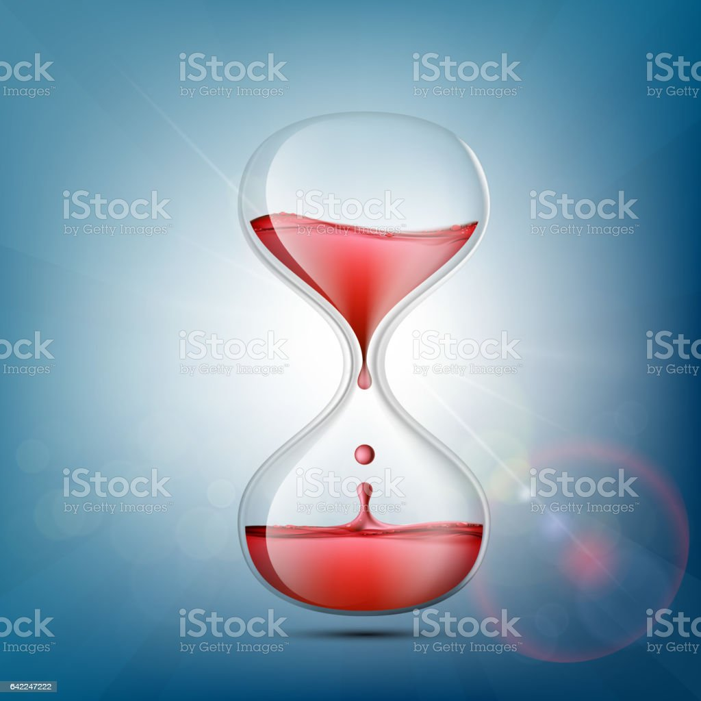 Hourglass with human blood. Symbol donations and charity. vector art illustration