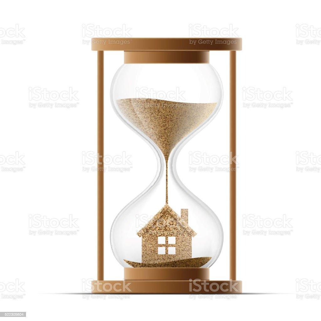 Reloj de arena con la Asamblea. Construcción de bienes raíces. - ilustración de arte vectorial