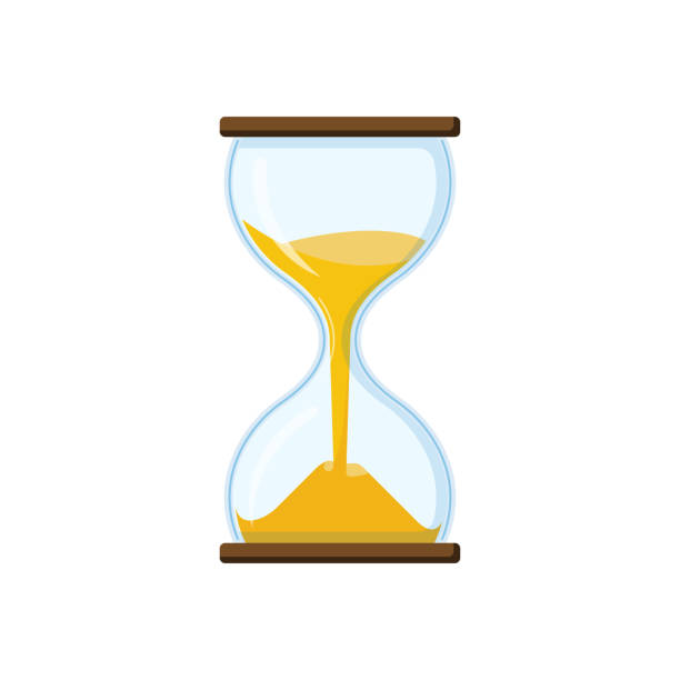 Hourglass with transparent glass vector art illustration