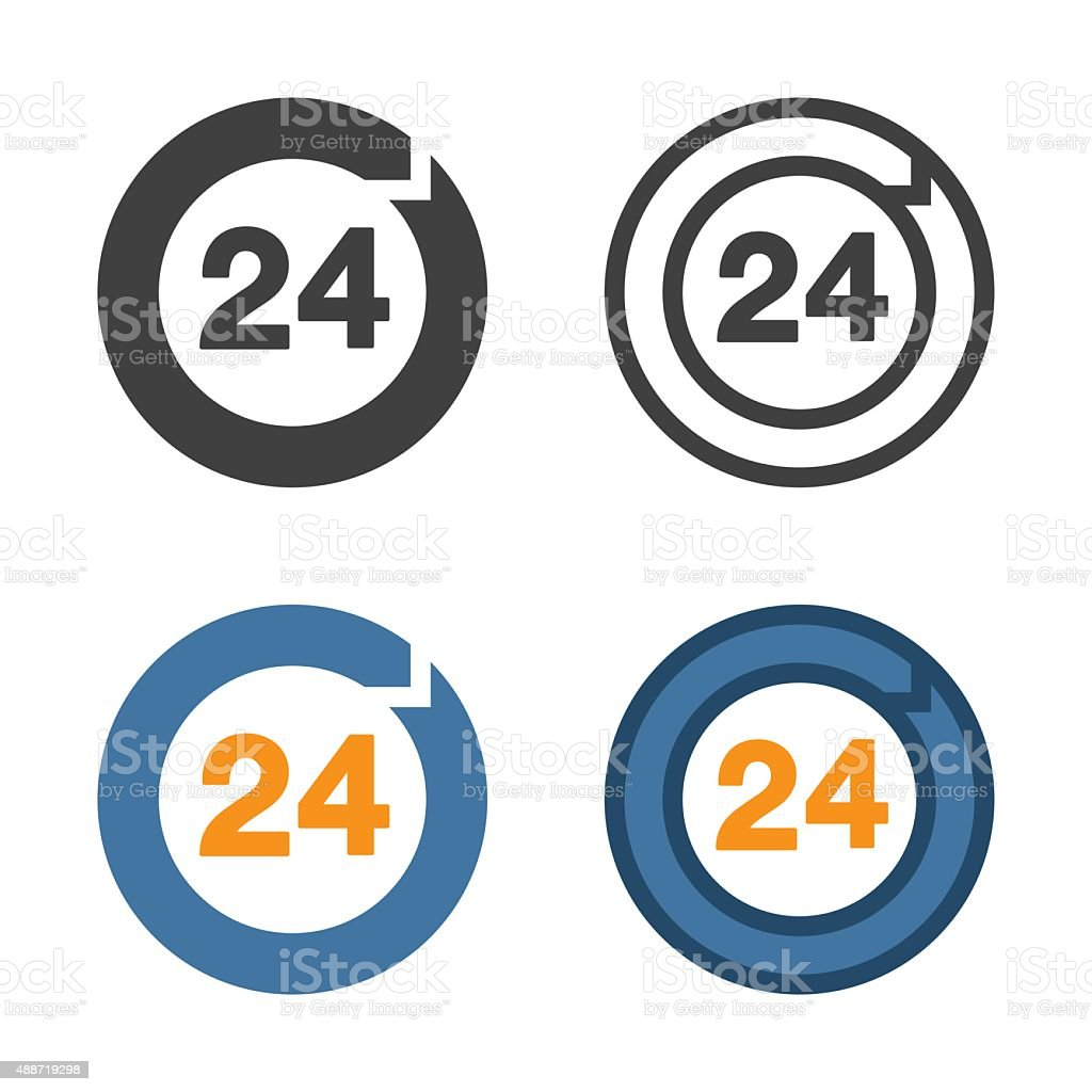 Hours 24 Icon vector art illustration