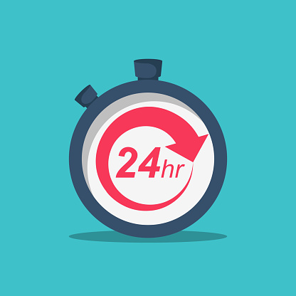 24 Hours. 24/7 service icon. The circular arrow in the stopwatch. Vector illustration flat design. Isolated on background. The concept of continuous service.