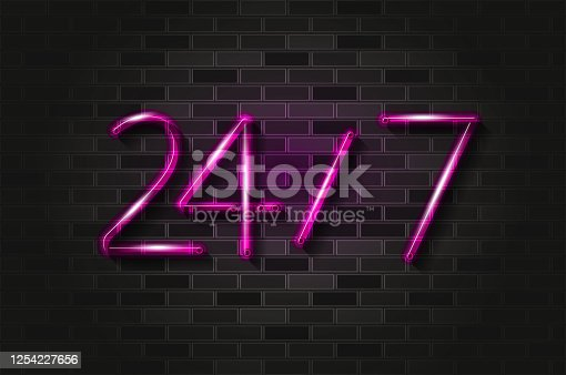 24 hours, 7 days glowing neon sign or glass tube. Realistic vector illustration. Black brick wall, soft shadow.