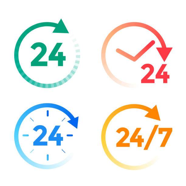 24 hours a day service icons set - call center stock illustrations