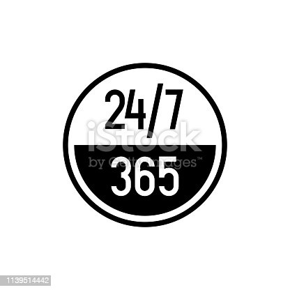 24/7 hours and 365 days icon. Any time working service or support symbol. Adjustable outline stroke line width.