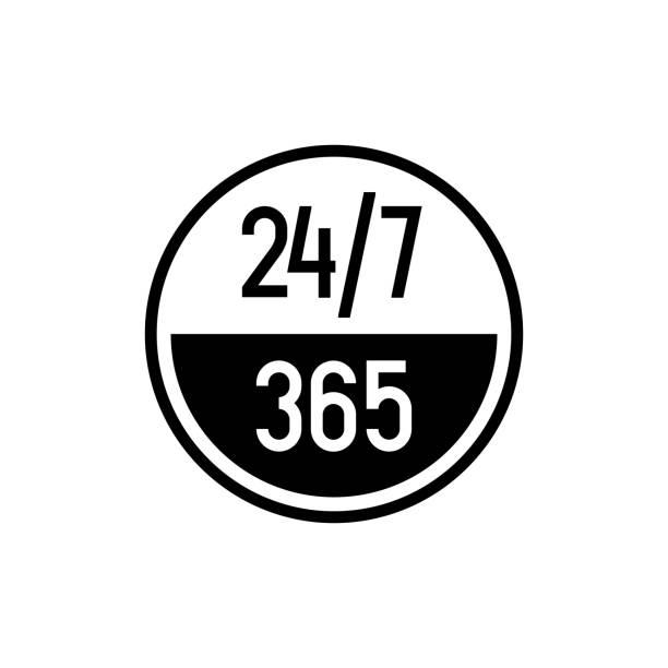 ilustrações, clipart, desenhos animados e ícones de 24/7 horas e 365 dias ícone. qualquer tempo de serviço de trabalho ou símbolo de suporte. - dia do cliente