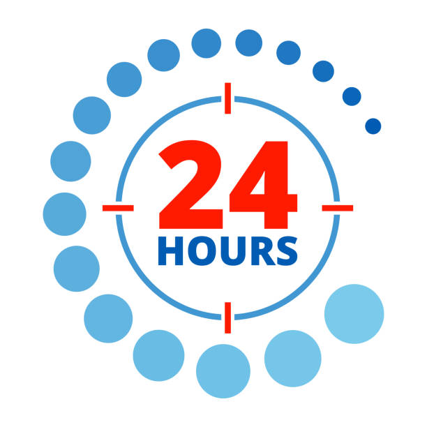 24 hours around color vector art illustration