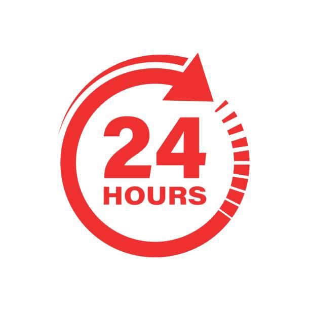 ilustrações, clipart, desenhos animados e ícones de ícone do sinal do pulso de disparo de 24 horas no estilo liso. vinte quatro horas abrem a ilustração do vetor no fundo isolado branco. conceito do negócio do timetable. - dia do cliente