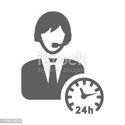 24 hours customer support icon. Use for commercial, print media, web or any type of design projects.
