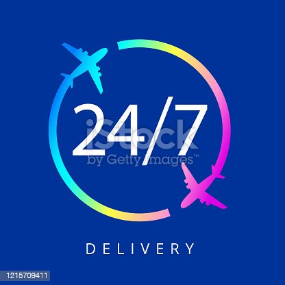 Hours Express delivery is open 24 hours a day and 7 days a week on a blue background. Vector illustration
