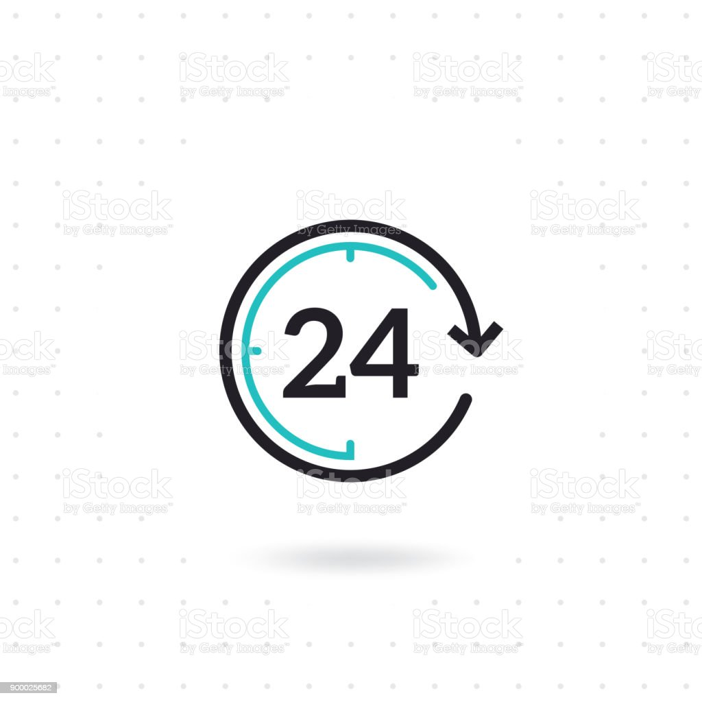 24 hours flat vector icon vector art illustration
