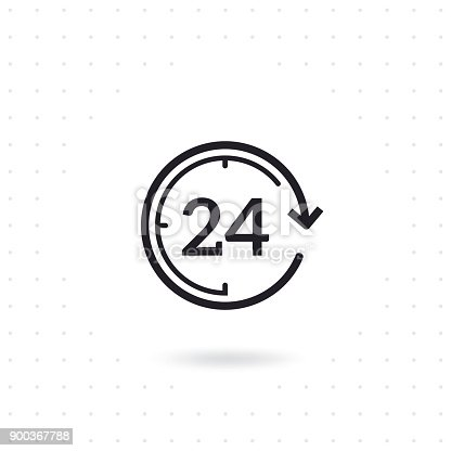 24 hours flat vector icon. Flat line design open 24 hours. Non stop working shop or service. Outline clock symbol. Twenty four hours icon. Flat line vector illustration