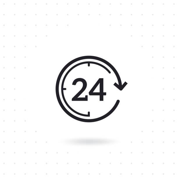 ilustrações, clipart, desenhos animados e ícones de ícone do vetor do plano de 24 horas - dia do cliente