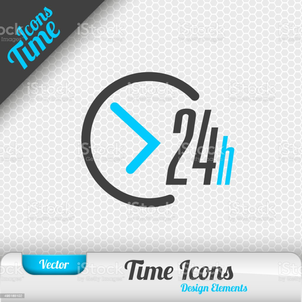 24 Hours Icon Vector Design Elements vector art illustration