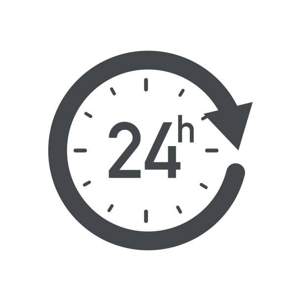 illustrazioni stock, clip art, cartoni animati e icone di tendenza di icona di 24 ore. - quadrante