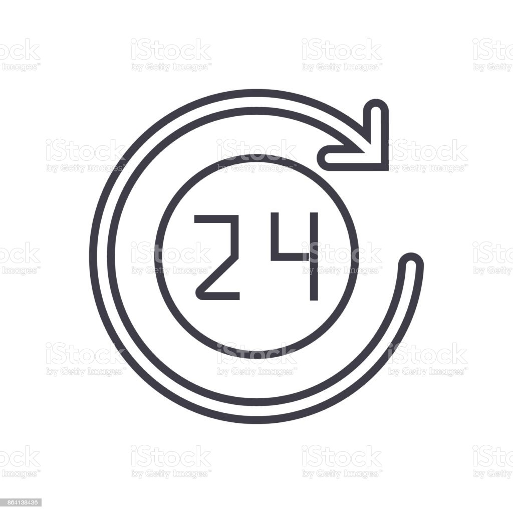 24 hours   icon, vector illustration, sign on isolated background royalty-free 24 hours icon vector illustration sign on isolated background stock vector art & more images of 24 hrs