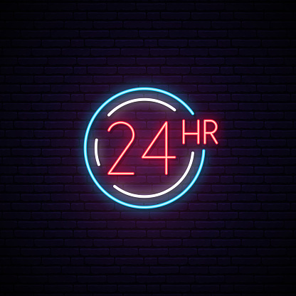 24 Hours neon sign. Light signboard with simbol of round the clock working. Vector illustration.