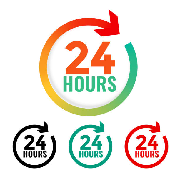 24 hours open icon in many colors - call center stock illustrations
