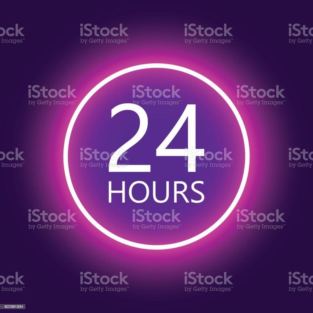 24 hours open sign, purple neon billboard vector illustration vector art illustration