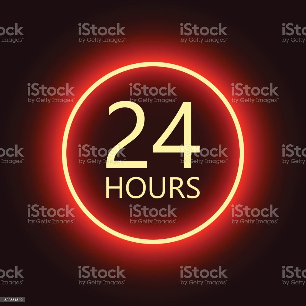 24 hours open sign, red neon billboard vector illustration vector art illustration
