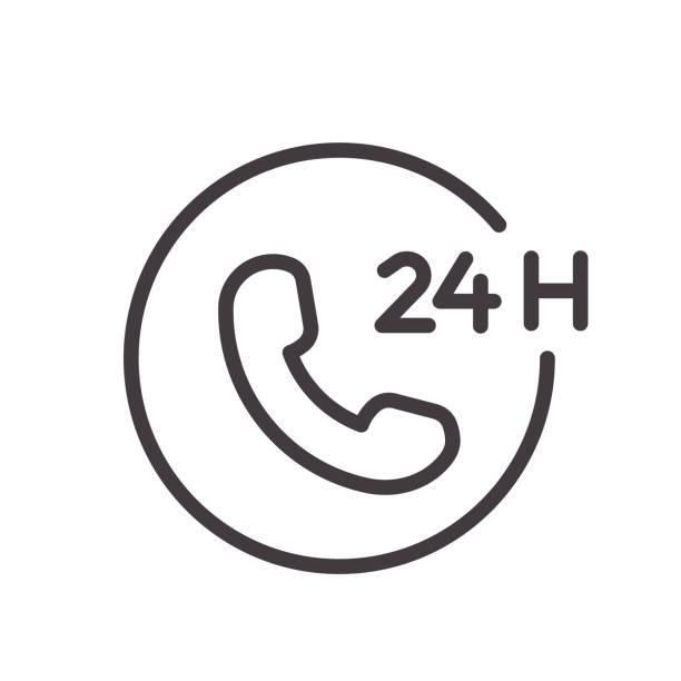 ilustrações, clipart, desenhos animados e ícones de 24 horas telefone chamada serviço de linha fina ícone. projeto do vetor, facilmente editable. sempre aberto e disponível vinte e quatro horas. - dia do cliente