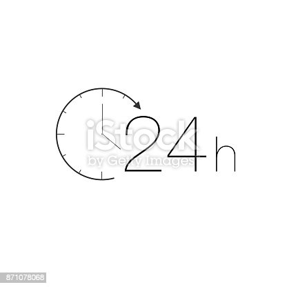 minimalistic 24 hours service icon, black on white
