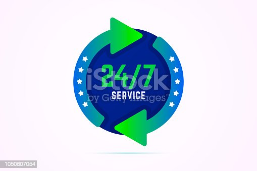 24 7 hours service sign with green arrows. Vector illustration in EPS10.