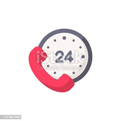 24 Hours, Time, Clock Flat Icon.