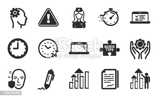 24 hours, Web lectures and Signature icons simple set. Analysis graph, Employee hand and Quick tips signs. Time, Document signature and Employee results symbols. Flat icons set. Vector