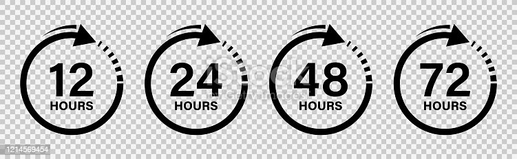 Hours work 12, 24, 48 and 72 clock with arrow, effect of work time. Isolated background, vector illustration