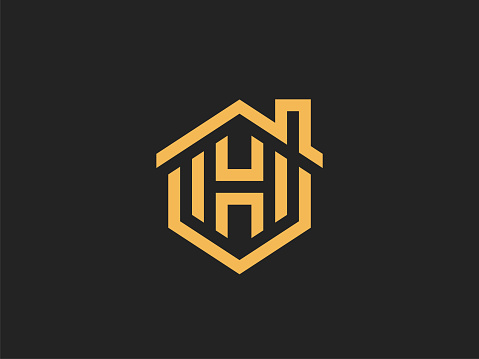 House Abstract sign design vector Linear style.