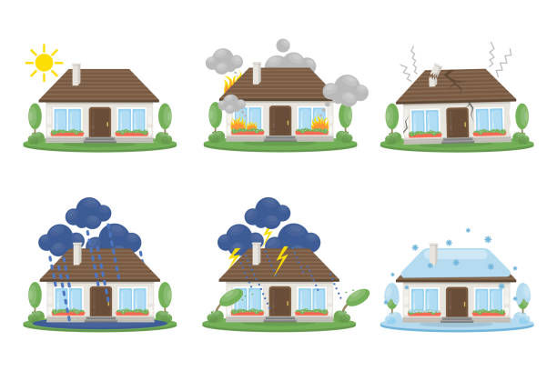 House accidents set House accidents set. Fire and lightning, snow and flood. damaged stock illustrations