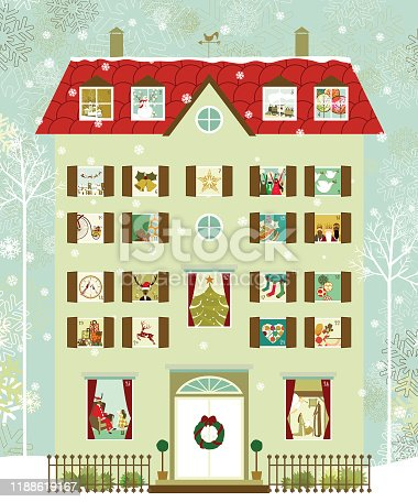 Victorian house style with different christmas scenes in each window